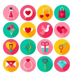 Happy Valentine Day Flat Icons vector