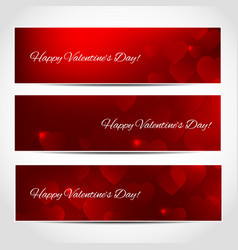 happy valentines day banners with red hearts vector image