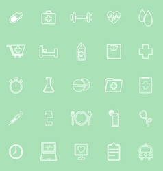 Health line icons on green background vector