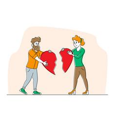 Heartbroken couple parting divorce man and woman vector