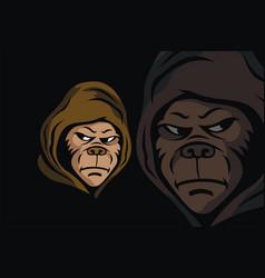 Hooded monkey head mascot vector