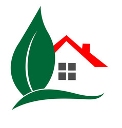 House and leaf logo real estate concept vector