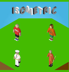 Isometric people set of seaman guy cleaner and vector