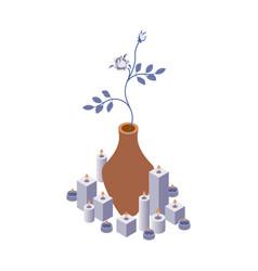 isometric scene with rose flower in vase vector image
