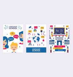 Language school banner vector