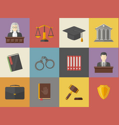 law and justice icons set in flat vector image