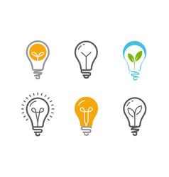 light bulb icon set technology idea symbol vector image