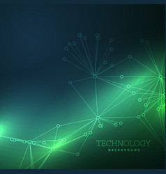 lines wire on green technology background vector image