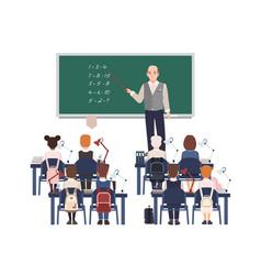 Male math teacher explaining addition to vector