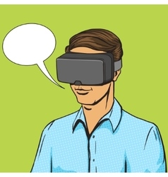 Man and virtual reality device comic book vector image