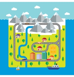 Map small town and countryside vector