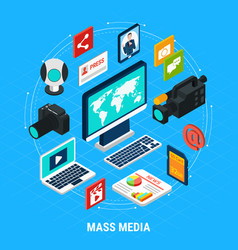 mass media isometric composition vector image