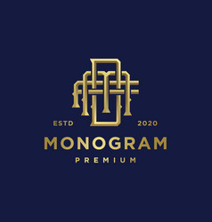Monogram business golden logo template vector