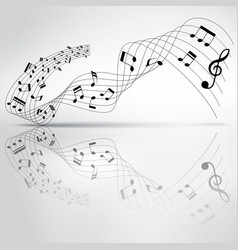 musical chord flowing and reflection on background vector image