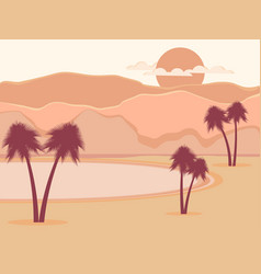 Oasis with palm trees desert vector