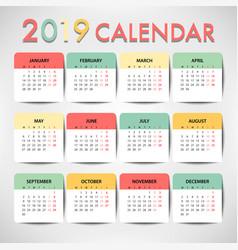 pastel color calendar for 2019 template design vector image