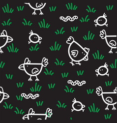 pattern chickens walking on green grass and vector image