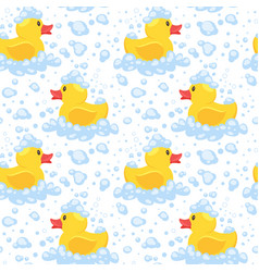 pattern with yellow rubber duck vector image