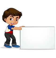 Philippines boy holding blank sign vector