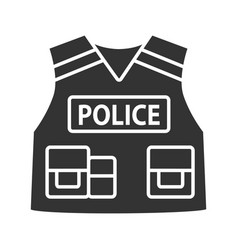 police tactical vest glyph icon vector image