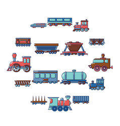 railway carriage icons set cartoon style vector image