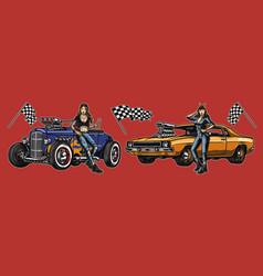 retro custom cars repair service composition vector image