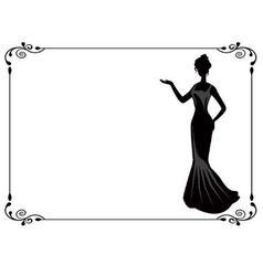 Retro woman in frame vector