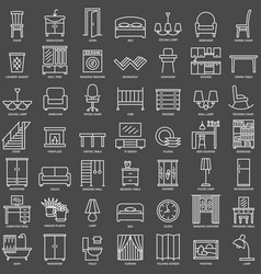 room furniture linear icons set vector image
