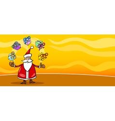 Santa Claus and presents cartoon card vector image