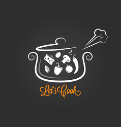 saucepan with food ingredients cooking logo on vector image