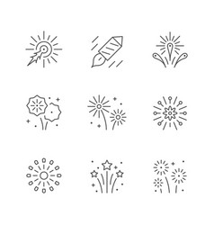 set line icons firework vector image