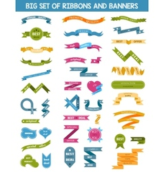 set of labels stickers and ribbons vector image