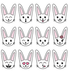 set of white cute rabbits isolated on white vector image