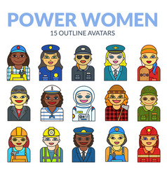 Set of women avatars vector