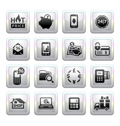 Shopping Icons Gray Web 20 icons vector image