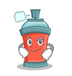Smirking aerosol spray can character cartoon vector