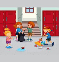 Student cleaning school hallway vector