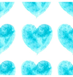 stylish pattern with watercolor blue hearts vector image