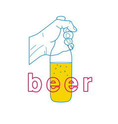 The hand holds a bottle of beer vector