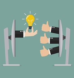 Thumb up for great idea online vector