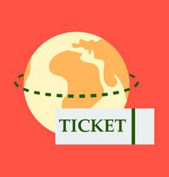 Ticket around globe vector