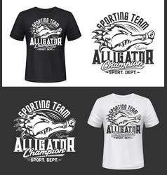 tshirt print with alligator sport team mascot vector image