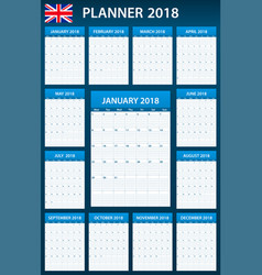 Uk planner blank for 2018 english scheduler vector