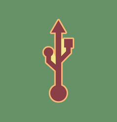 Usb sign cordovan icon and vector