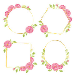 watercolor hand draw pink english rose wreath vector image