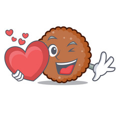 With heart chocolate biscuit mascot cartoon vector