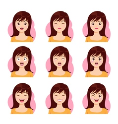 woman long hair face emotion vector image
