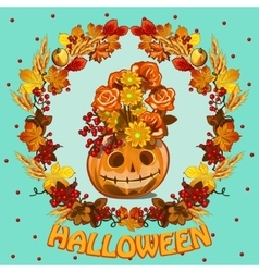 Wreath of leaves and grinning pumpkin vector image