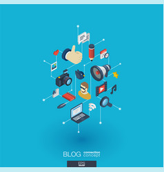 blogging integrated 3d web icons digital network vector image vector image