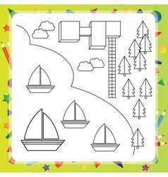 Coloring book with ships - vector image